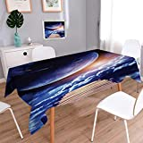 Anmaseven Outer Space Oblong Customized Tablecloth Watching A Meteor Rain From A Wooden Dock Under The Sunlight Image Stain Resistant Wrinkle Tablecloth Indigo Orange Brown Size: W50 x L80