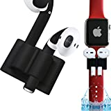 AirPods Watch Band Holder and Skins | Apple Airpod Holder for Exercise – Safely Secure Your AirPods On Your Wrist Strap with The Bander While Working Out (Matte Black Bander & Skin)