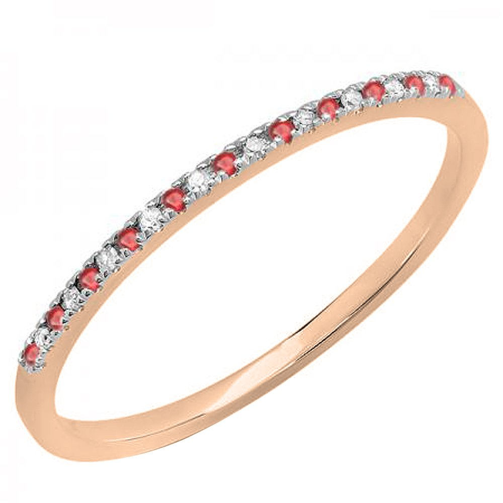 DazzlingRock Collection Femme 10K Or Rubis Rond & Blanc Diamant Dainty Anniversaire Mariage Bande empilable Bague 4.5 DR5242-1986-10KR-4.5