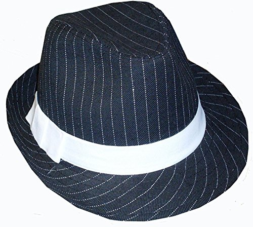 BLACK AND WHITE PINSTRIPED FELT GANGSTER FEDORA HAT - ADULT, ONE SIZE FITS - White Fedora Pinstriped Hat