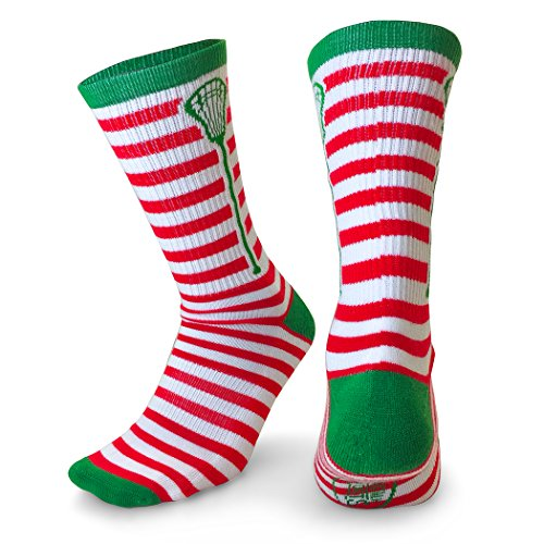 ChalkTalk SPORTS Athletic Half Cushioned Lacrosse Crew Socks | Mid Calf | Christmas Lax Stripes | Red & White Stripe Mid Calf Socks