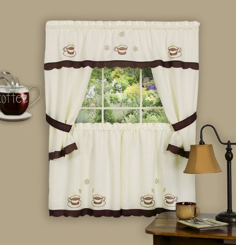 Nice Achim Home Furnishings 58 Inch By 36 Inch Cuppa Joe Embellished Cottage  Topper With 58 Inch By 36 Inch Swaggers For Windows