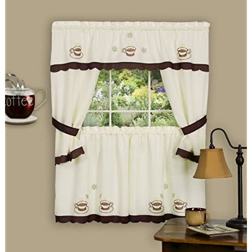 Attrayant Achim Home Furnishings 58 Inch By 36 Inch Cuppa Joe Embellished Cottage  Topper With 58 Inch By 36 Inch Swaggers For Windows