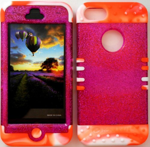 Trans Camo (BUMPER CASE FOR APPLE NEW IPHONE 5 ORANGE & WHITE TWO TONE SILICONE SKIN + TRANS PINK GLITTER HARD PLASTIC SNAP ON COVER WITH SCREEN PROTECTOR/STYLUS/CELLPHONE TRENDZ (TM ) GLOW IN DARK SILICONE WRIST BAND)