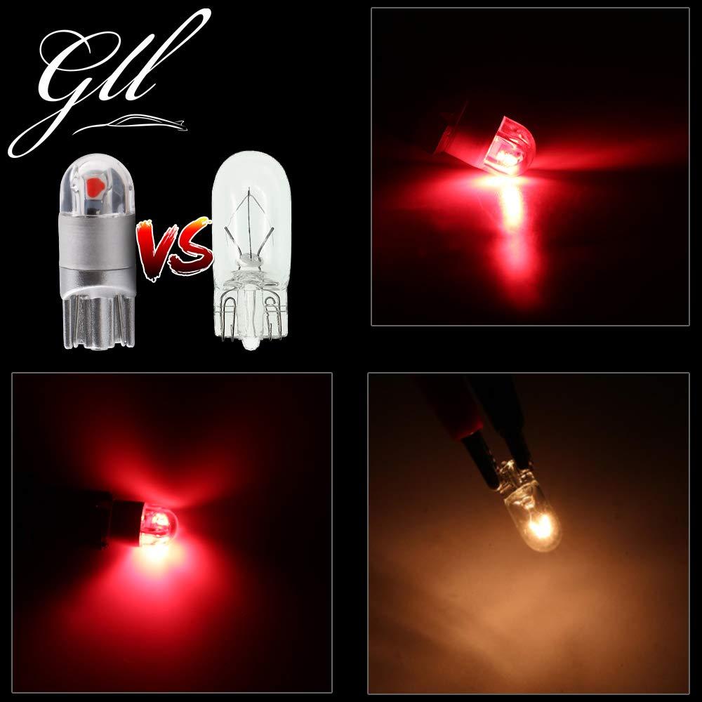 Grandview 10pcs Rouge T10 501 W5W 194 168 2825 Ampoule LED 2-3030-SMD Pour /éclairage Int/éRieur De La Voiture Pour Tableau De Bord Vue Lat/éRale Ampoule De Plaque DImmatriculation DC 12V