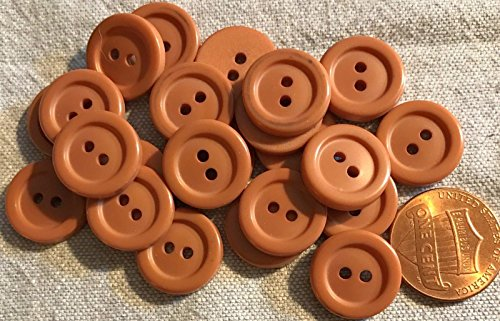 24 New Terracotta Light Brown Sew Through Plastic Button For Sewing Diy Craftss 9 16  14Mm