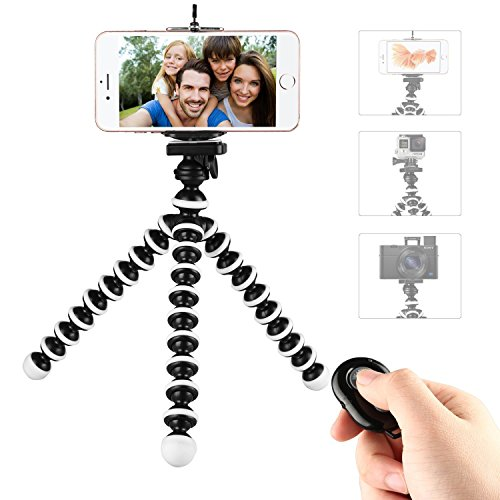 Phone Tripod,Portable and Flexible Adjustable Cell Phone Stand Holder with Remote and Universal Clip Compatible with iPhone Android Phone Compact Digital Camera Sports Camera GoPro ()