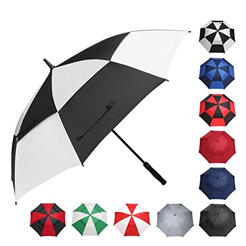 BAGAIL Golf Umbrella 68 Inch Large Oversize Double Canopy Vented Windproof Waterproof Automatic Open Stick Umbrellas For Men and Women Black/White