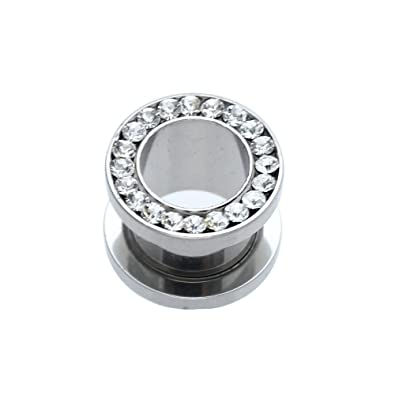 Dilatador Dilatación Piercing Tubo Acero Inoxidable Diamante de Imitación 10mm: Amazon.es: Joyería