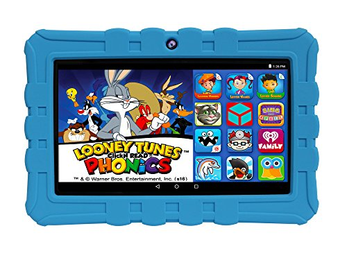 "Price comparison product image EPIK Learning Tab, 7"" Kids Touchscreen Tablet Featuring Android 5.1 OS, Looney Tunes Phonics, 16GB Intel Quad Core Processor KidSAFE Certified - Blue"
