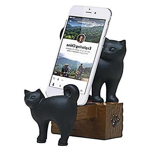 ElecNova Desktop Cell Phone Holder-Resin 2 Black Cats Smartphone Stand Mount Dock For All Smartphone, ipad, Tablet Home Decor Ideal Gift for $<!--$17.99-->