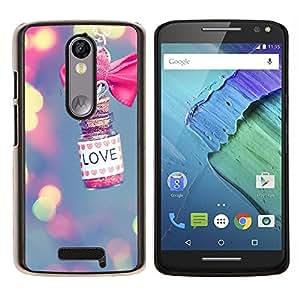 LECELL--Funda protectora / Cubierta / Piel For Motorola MOTO X3 3rd -- luces amor desdibujan rosa significado valentín --