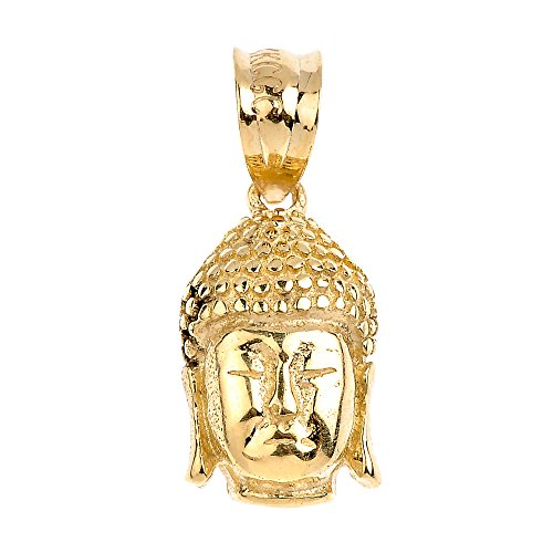 (Good Luck Charms 14k Yellow Gold Textured Buddha Head Necklace Pendant)