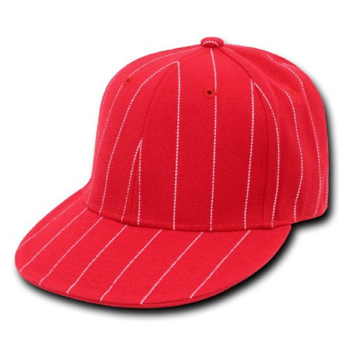Hat 2006 Pin (DECKY RED Pin Stripe Fitted Baseball Caps (6-7/8))