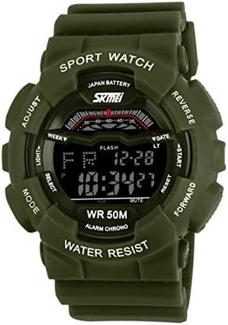 USWAT Children Fashion LED Digital Sports Watch Multifunctional Electronic Wristwatch 50M Waterproof Green