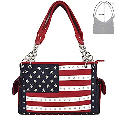 American Flag Stars and Stripes Concealed Carry Purse Women Country Handbag Wallet Set Red White Blue