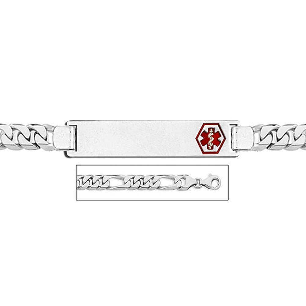 PicturesOnGold.com Sterling Silver Medical ID Figaro Chain W/Red Enamel Bracelet - 8-1/2 WITH ENGRAVING