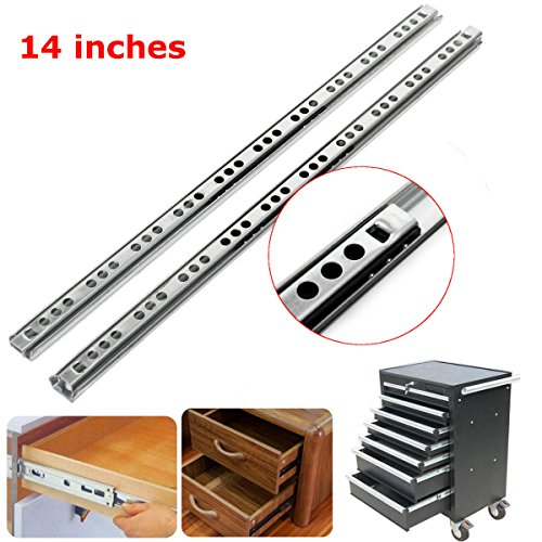 Drawer Ball Bearing 13 Tool (Hardware & Accessories Industrial Hardware - 2pcs Metal Drawer Bearing Slide Mute Guide Track 8-16Inch Silver - 14 inch - 2×Drawer Ball Bearing Slide More Details:)