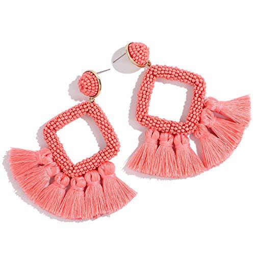 Tassel Earrings for Women Fringe Dangle Earrings Handmade Beaded Geometric Statement Earrings (C: - Designer Geometric Earrings