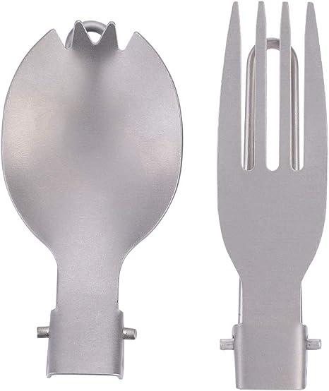 Tenedor plegable, tenedor portátil plegable de titanio Spork Cubiertos de camping al aire libre Vajilla de viaje(Tenedor + cuchara)