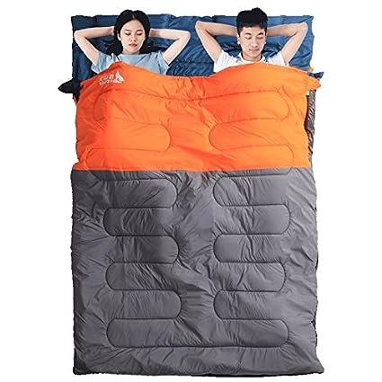 SUHAGN Saco de dormir Dobles Parejas Gruesas Bolsas De Dormir Camping Exterior Cálida Piscina Adulto Caen
