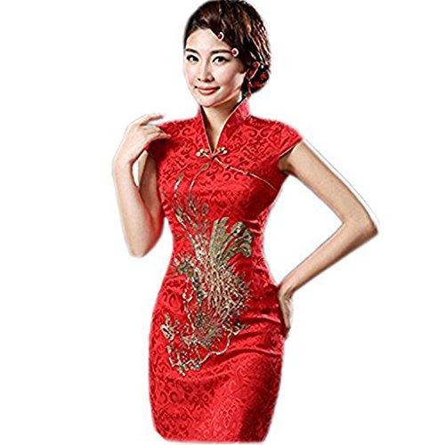 Chinese Dress (Merryfun Womens Cheongsam Dress Retro Phoenix Printing Brocade Gown (L,)