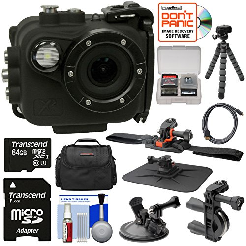 Intova X2 Marine Grade Wi-Fi HD Video Action Camera Camcorder & Video Light + 64GB Card + Handlebar, Helmet, & Suction Cup Mounts + Case + Tripod Kit by Intova