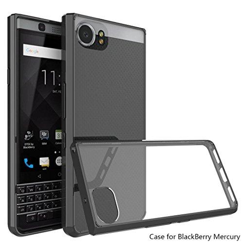 for Blackberry Keyone ,Clear Hybrid Case TPU Bumper Hard Back Scratch Resistant Cover (Black)