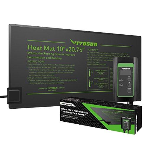 VIVOSUN 10'x20' Seedling Heat Mat and Digital Thermostat Combo Set