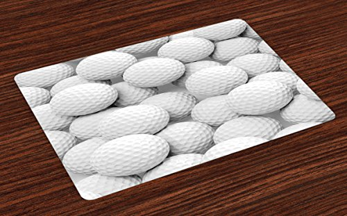(Lunarable Sports Place Mats Set of 4, Pile of Realistic Golf Balls Together Closeup Picture Challenge Entertainment Joyful, Washable Fabric Placemats for Dining Room Kitchen Table Decor, White)