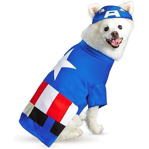 Captain America Pet Costume Small  sc 1 st  Amazon.com & Amazon.com: Disguise Marvel Captain America Pet Costume-: Clothing