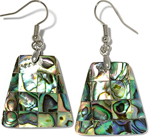 AnsonsImages Trapezoid Rectangle Tile Abalone Earrings Multi Color Green Silver Tone