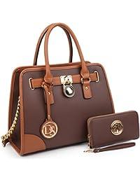Women's Designer Handbags Padlock Belted Satchel Bags Top Handle Handbag Purse Shoulder Bag w/ Matching Wallet