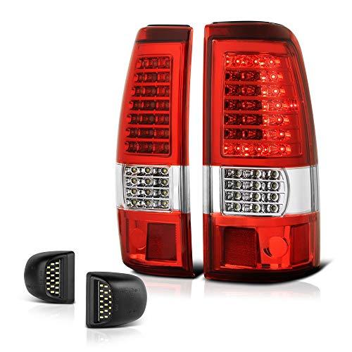 - VIPMOTOZ Red Lens C-Shape LED Tail Light + Full-LED License Plate Lamp Housing Replacement Bundle For 1999-2002 Chevy Silverado & 1999-2006 GMC Sierra 1500 2500 3500 Pickup Truck