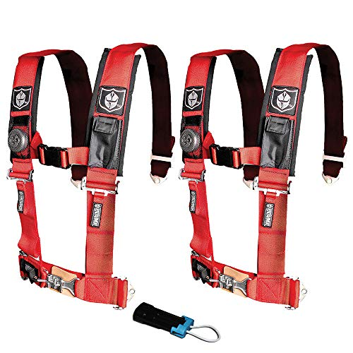 Pro Armor A114220RD P151100 Red 4-Point Harness 2 Inch Straps RZR UTV Seat Lap Belt with Bypass Clip 2 - Safety Harness 4 Point