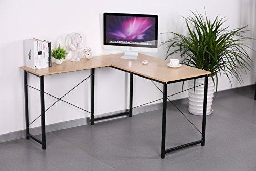 Sonoma Oak Wood Finish Black Metal L-Shape Corner Computer Desk PC Laptop Table Workstation Home Office by eHomeProducts