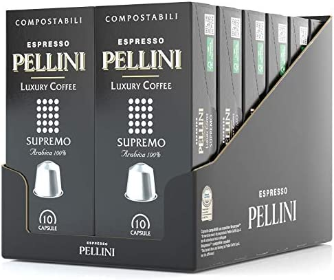 Pellini Caffè Espresso Luxury Coffee Supremo, Capsule Compatibili Nespresso, COMPOSTABILI e Autoprotette, 12 Astucci da 10 Capsule, Totale 120 Capsule