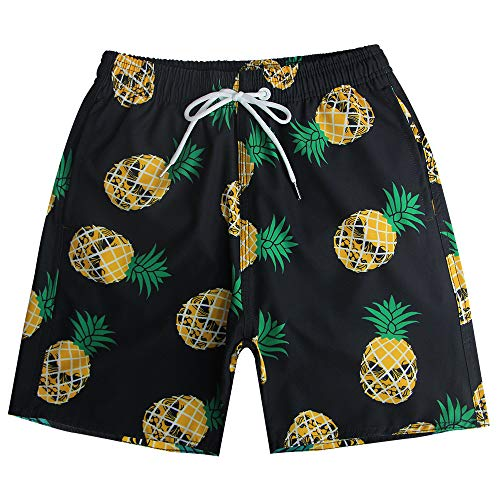 QRANSS Mens Skull Pineapple Swim Trunks Board Shorts (Black Pineapple, X-Large/42-44 Inches) ()