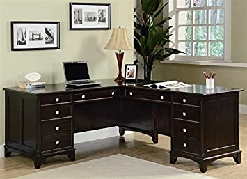Amazoncom Coaster Garson LShaped Desk With File - L shaped desk with file drawers
