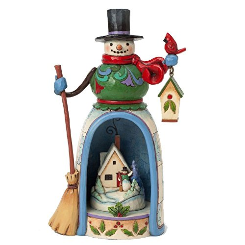 Jim Shore for Enesco Heartwood Creek Snowman with Lighted Winter Scene Figurine, 9.75-Inch