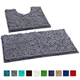 Bathroom Rugs Non Slip Super Soft Chenille Luxury Bath Mat Contour Set, Soft Plush Shower Rug +Toilet Mat.1'' Microfiber Shaggy Absorbent Machine Washable Bath Mats. Curved Set, Dark Gray