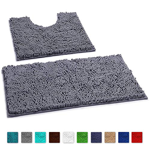 LuxUrux Bathroom Rugs Luxury Chenille 2-Piece Bath Mat Set, Soft Plush Anti-Slip Shower Rug +Toilet Mat.1'' Microfiber Shaggy Carpet, Super Absorbent Machine Washable Bath Mats (Curved Set, Dark Gray)