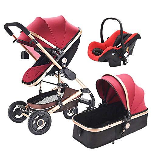 Red MOIMK 3 In 1 Pushchair Stroller Combi Stroller Buggy Baby Jogger Travel Buggy Kids Stroller