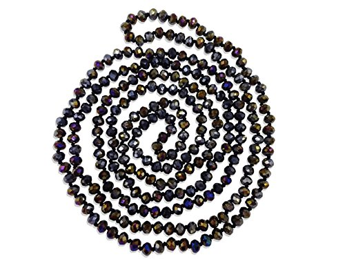 Faceted Strand - BjB 80-inch Long Endless Infinity Beaded Statement Crystal Necklace in Jet Black Aurora Borealis