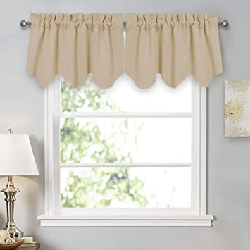 PONY DANCE Curtain Tiers Set - Window Room Darkening Drapes Rod Pocket Top  Scalloped Valances Curtain Panel for Kitchen & Bedroom, 42 W by 18 L, ...