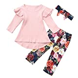Baptism Gifts for Baby Girl,Toddler Kids Baby Girl Dress T Shirt Tops Floral Pants Headband Outfits Set Pink