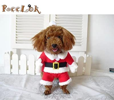 Reelok Christmas Santa Claus Pet/Dog Halloween Clothes Holiday Costume/Outfit/Clothes/Gift Warm for Winter and Holiday season with Xmas Hat - M Size (10) Medium