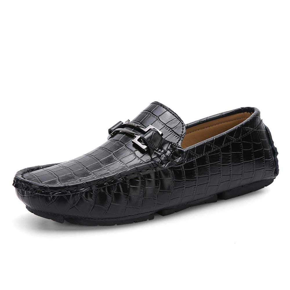 Gobling Mens Driving Loafer, Slip on Style Simple Solid Color Comfortable Shoes Summer Leather Metal Decor Boat Moccasins (Color : Black, Size : 9 M US)