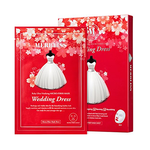 [MERBLISS] Wedding Dress Ruby Ultra Vitalizing Micro-Fiber Mask 27g, Pack of 5