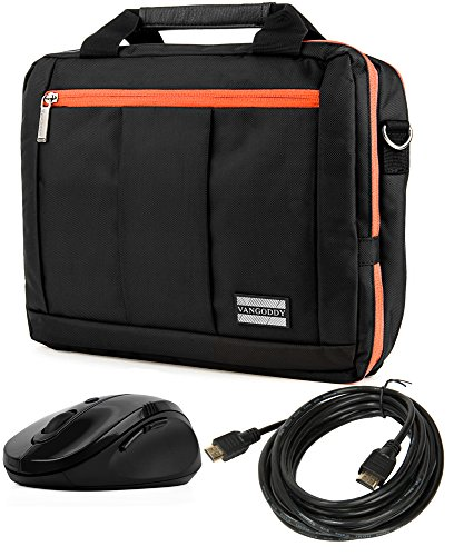3 in 1 Orange Messenger Laptop Bag & Wireless USB Mouse & 15
